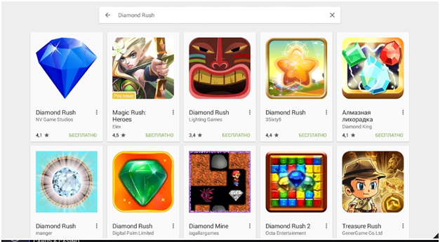 Находим Diamond Rush в списке
