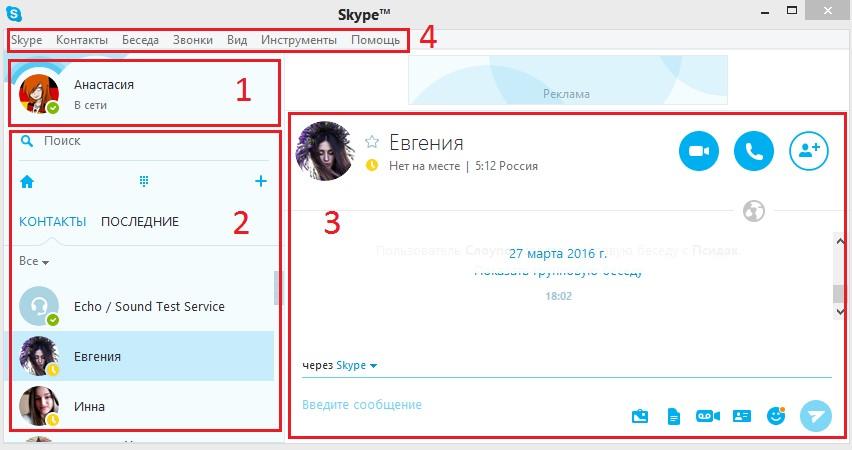 Окно Skype