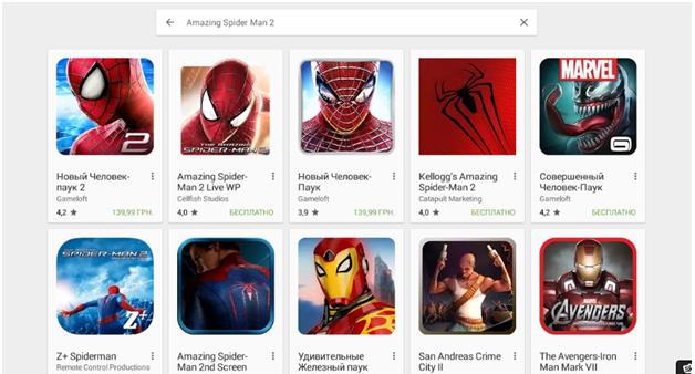 Находим Amazing Spider Man 2 в поиске