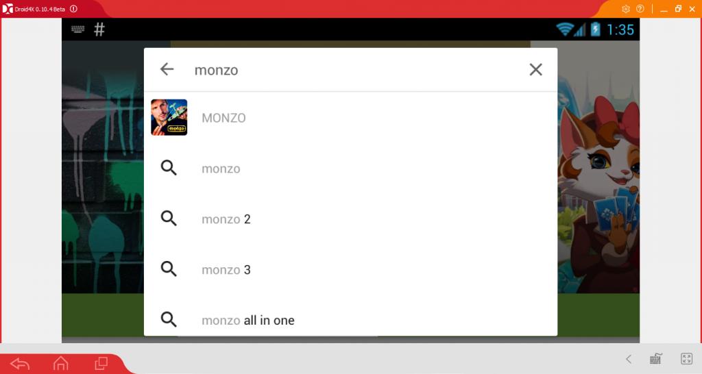 Вводим Monzo в строку поиска